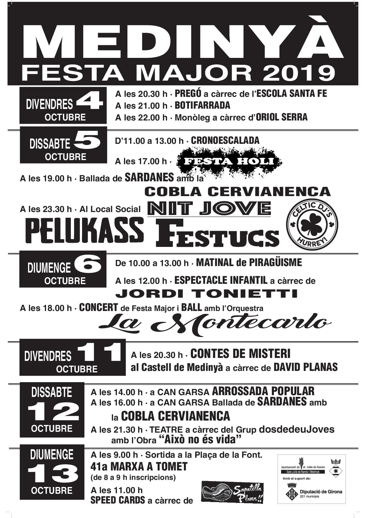 cartell FESTA MAJOR MEDINYA 2019